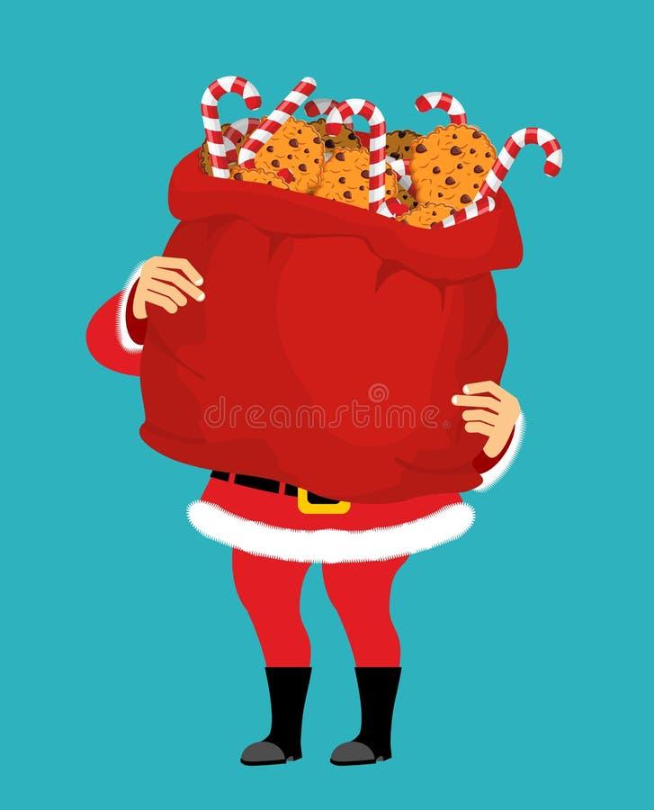 Santa Claus y el bolso de galletas y de la hierbabuena se pegan La Navidad s libre illustration