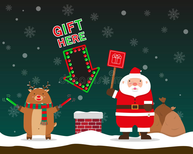 Santa Claus y el reno grandes gordos lindos señalan para enviar el regalo a la ji stock de ilustración