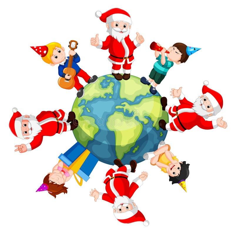 Santa Claus y niños felices ilustración del vector
