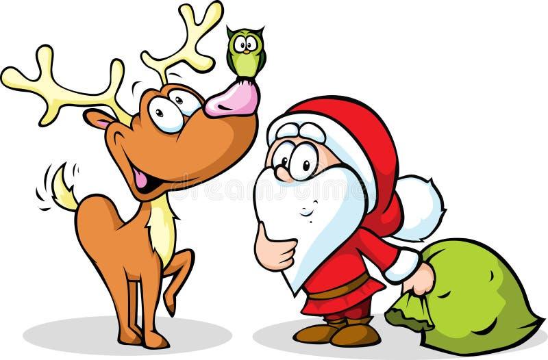 Santa Claus y reno libre illustration