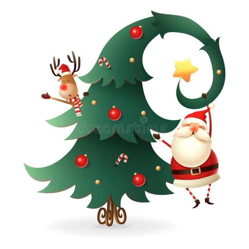 Santa Claus y reno alrededor del árbol de navidad en fondo transparente Estilo escandinavo de los gnomos ilustración del vector