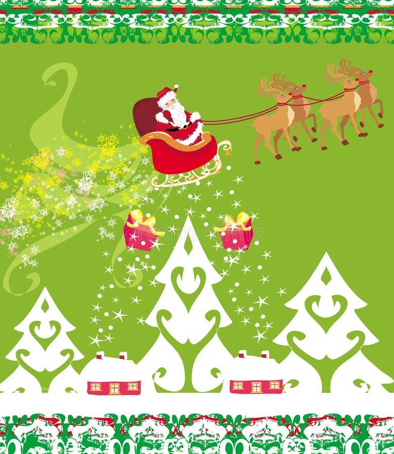 Santa Claus y reno - tarjeta de Navidad abstracta libre illustration