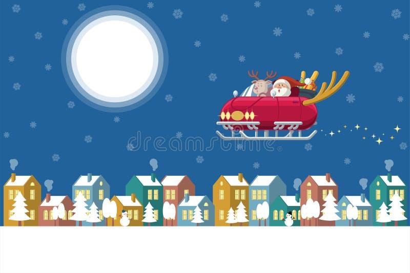 Santa Claus y Rudolph el reno rojo de la nariz que conduce un coche del trineo con los cuernos de los ciervos que vuelan sobre un ilustración del vector