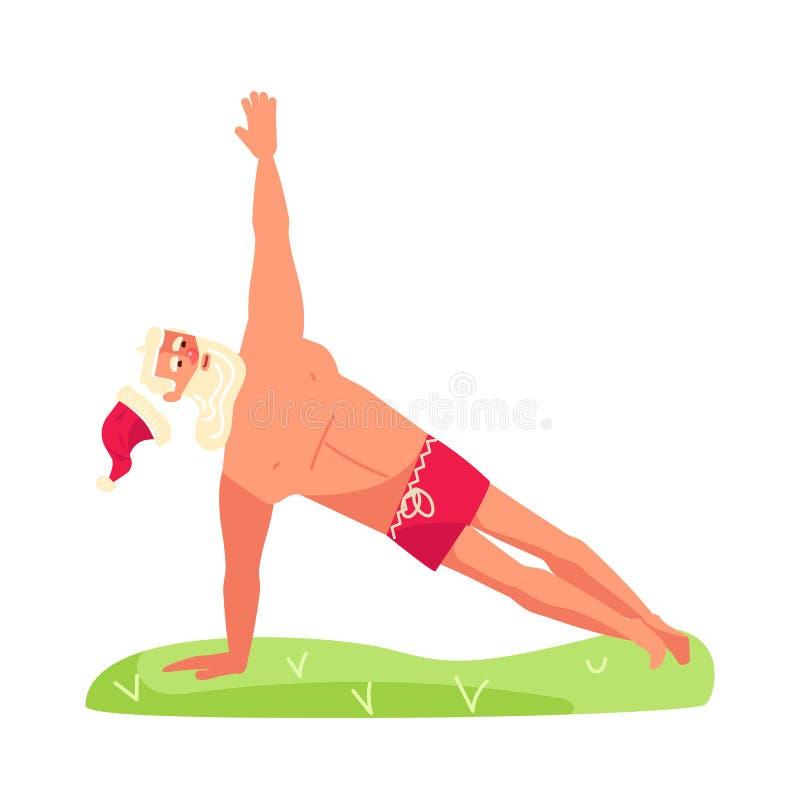 Santa Claus in yoga pose royalty free illustration