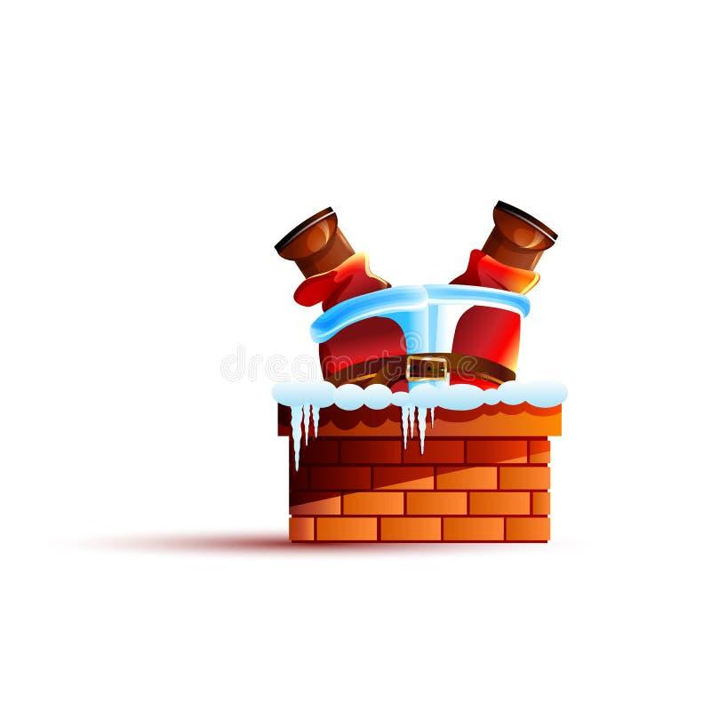 Santa Claus zablokowany do góry nogami w kominie ilustracji