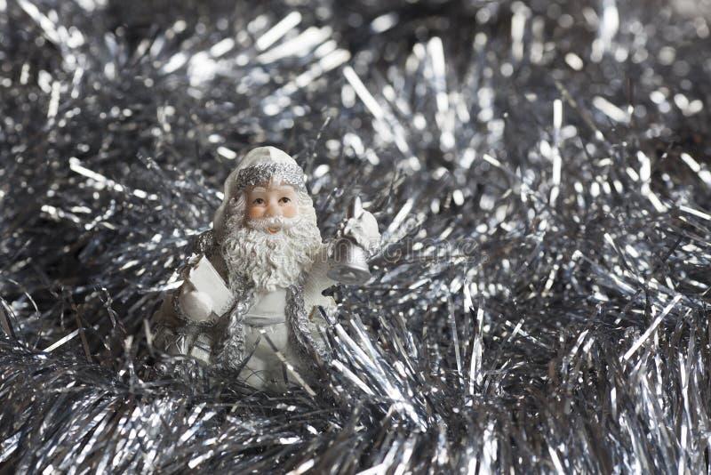 Santa Claus-Zahl auf Silber funkelt backgraund stockfoto