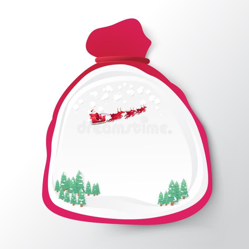 Santa Claus-zak met Kerstmisachtergrond vector illustratie