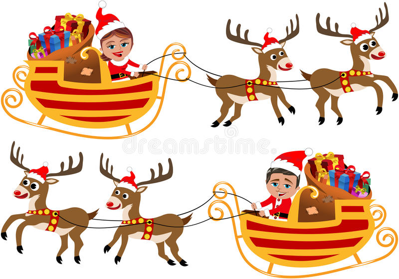 Santa Claus in zijn Kerstmisslee of Ar stock illustratie