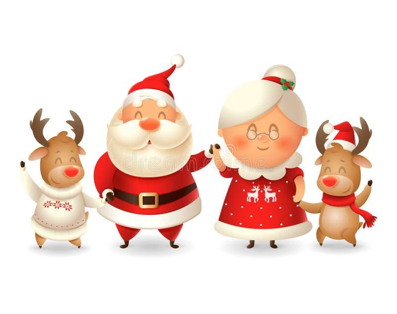 Santa Claus zijn vrouw Mrs Claus en twee Reindeer vieren wintervakanties - vectorillustratie geïsoleerd op transparante achtergro royalty-vrije illustratie