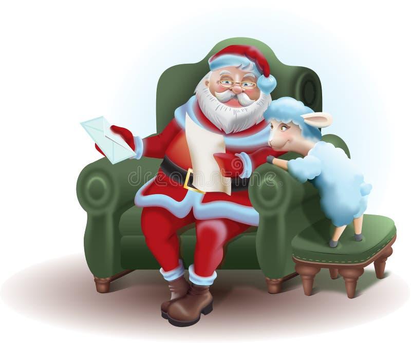 Santa Claus zit in een stoel en een lezing een brievenschaap stock illustratie