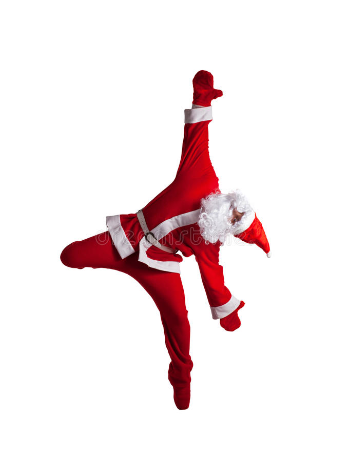 Santa Clause. Dancer white background stock photos