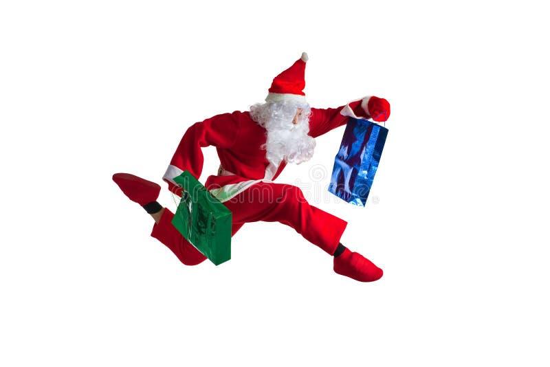 Santa Clause. Dancer white background stock photo