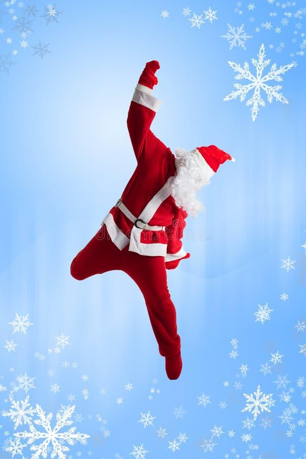 Santa Clause. Dancer blue background royalty free stock photos