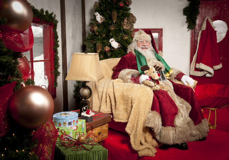 Santa Clause. Sitting in his chair at his place stock photo
