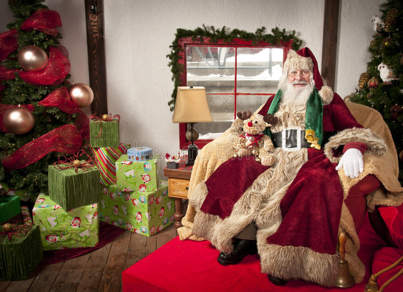 Santa Clause. Sitting in his chair at his place stock photography