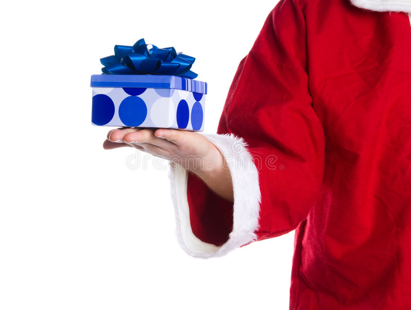 Santa Clause. Holding a box gift in his hand stock photography
