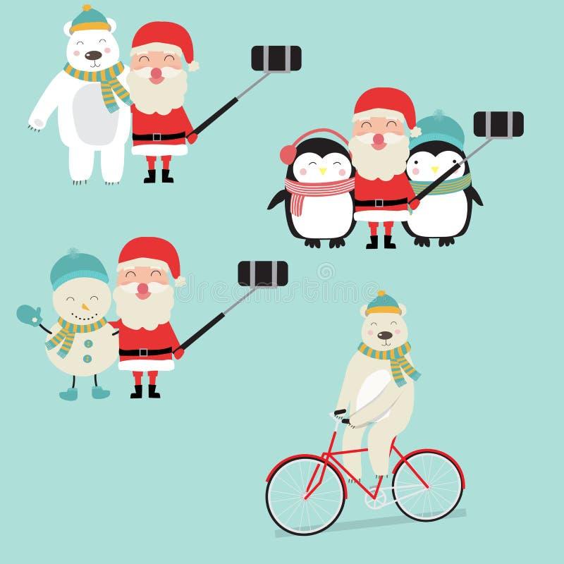 Santa Clause Activities com o urso e o rei manpolar da neve dos pinguins ilustração royalty free