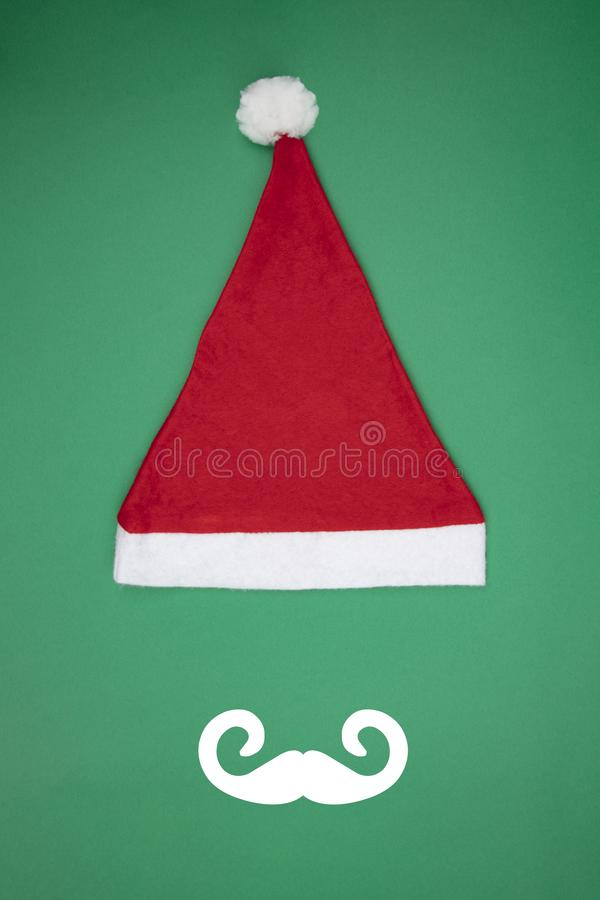 Santa Clause cap with Moustache stock images