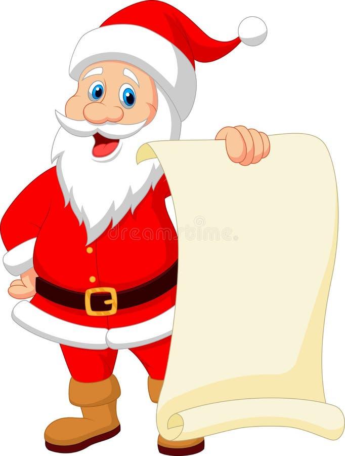 Free Santa Clause Cartoon Holding Blank Vintage Paper Royalty Free Stock Photos - 39806058