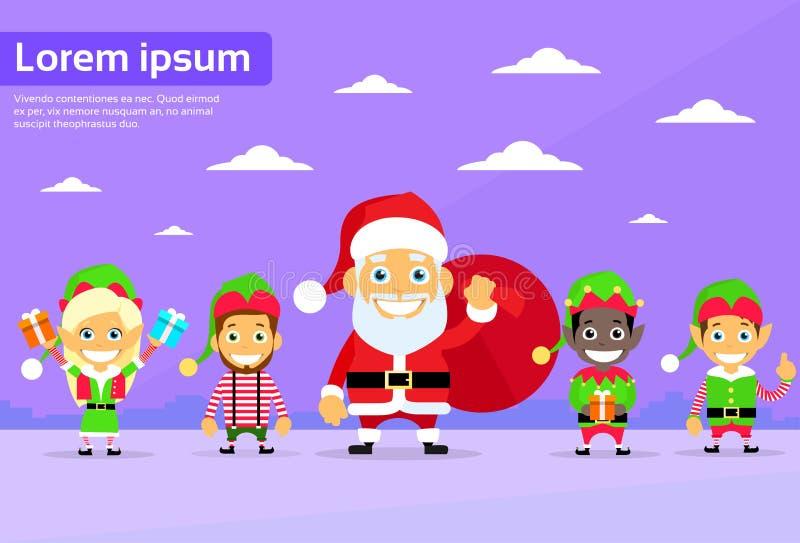 Santa Clause Christmas Elf Cartoon tecken royaltyfri illustrationer