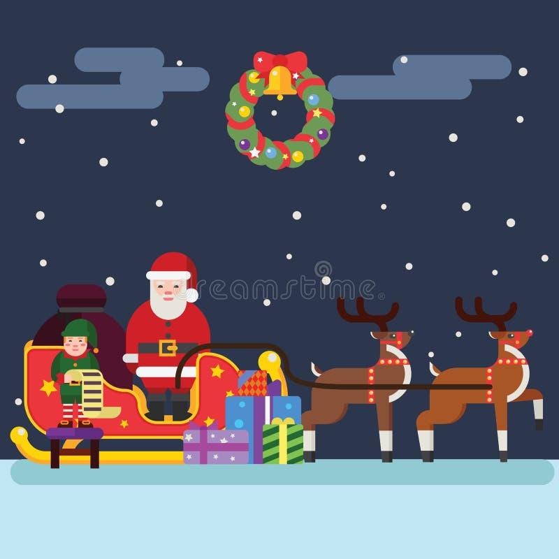 Santa Clause Christmas Elf Reindeer royaltyfri illustrationer