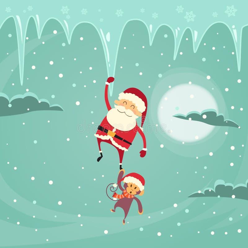 Santa Clause Christmas Monkey Cartoon-Karakter vector illustratie