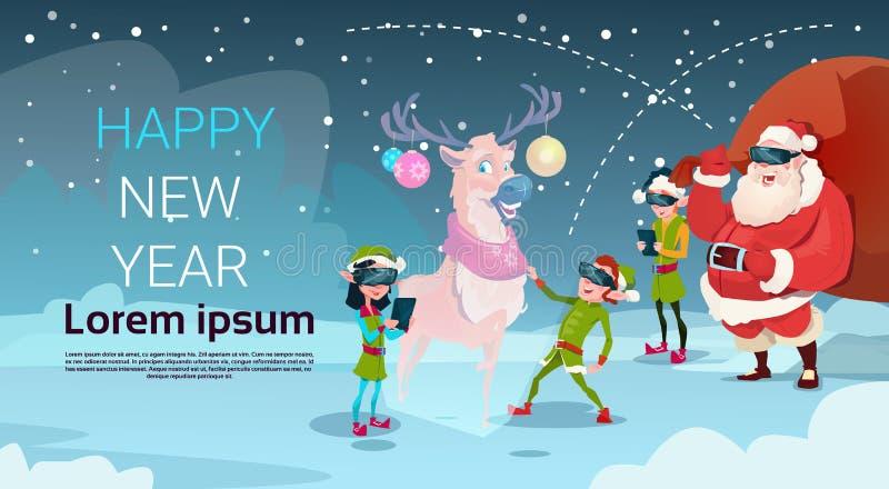Santa Clause Elf Group Wear Digital exponeringsglas ser år för glad jul för virtuell verklighetren lyckligt nytt royaltyfri illustrationer