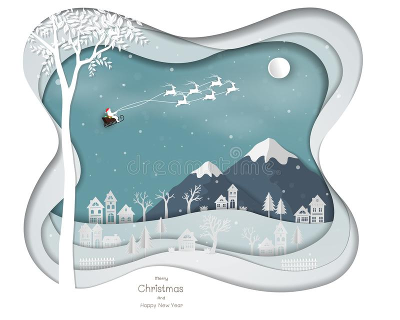 Santa Clause flying above city village on white paper art abstract background. Landscape with icons of winter season for Christmas holiday,happy new year royalty free illustration