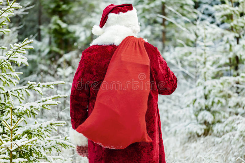 Santa Clause with gift bag in the forest. In winter day stock image