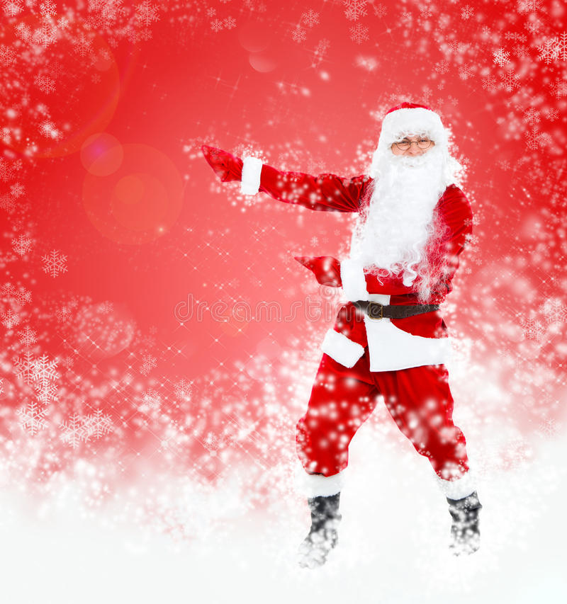 Santa Clause. In new year costume over red christmas background royalty free stock photos