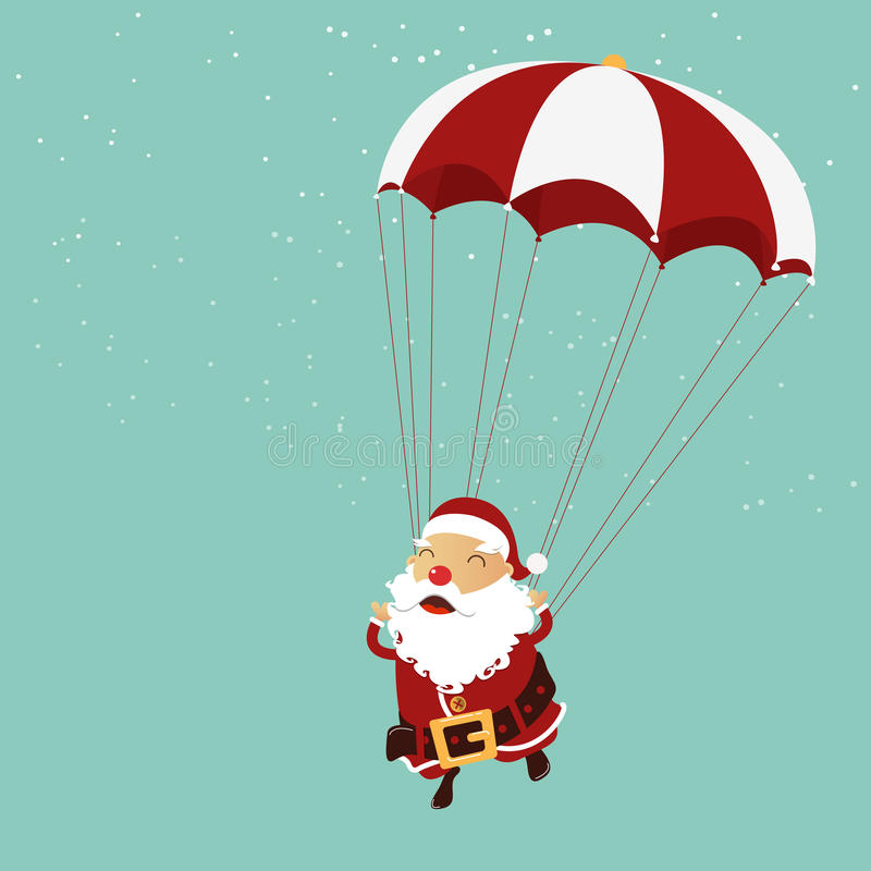 Santa clause is parachuting in the air. Christmas ornament. Vector Illustration stock illustration