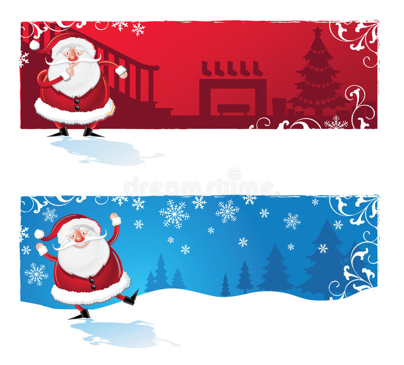 Santa Clause Cartoon Banners Royalty Free Stock Photography