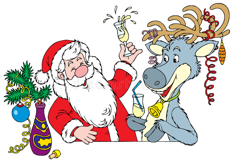 Santa Clause and Reindeer vector illustration