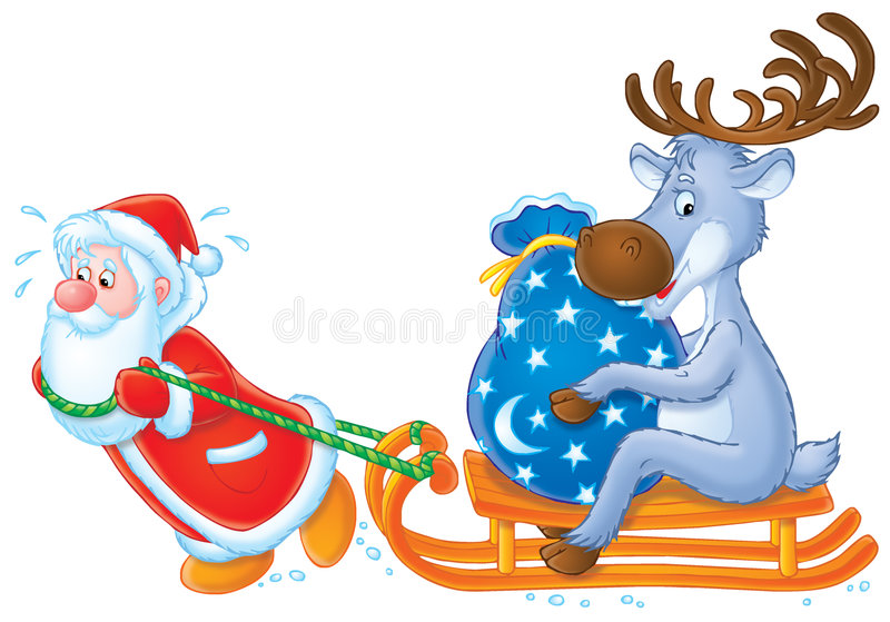 Santa Clause and Reindeer royalty free stock image