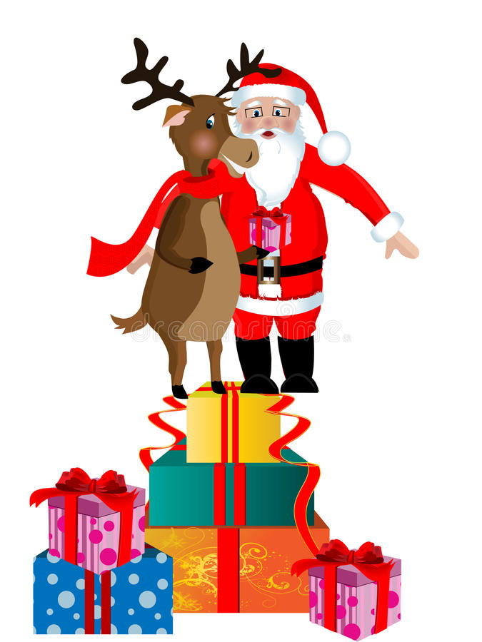 Santa Clause and Rudolph stock illustration