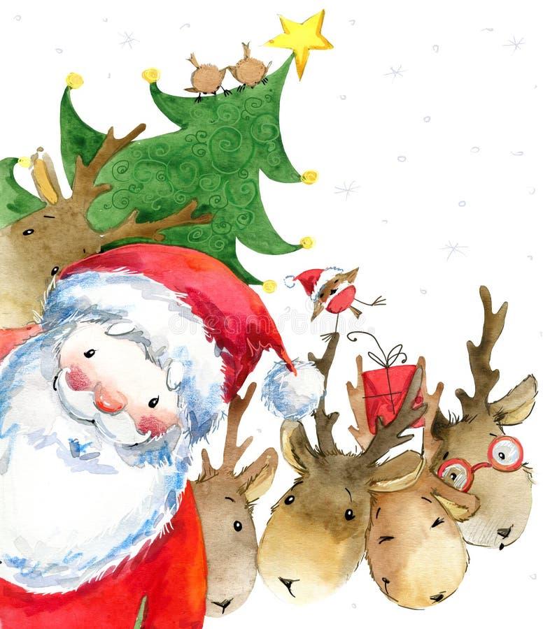 Santa Clause Santa engraçada Cartão do ano novo ilustração stock