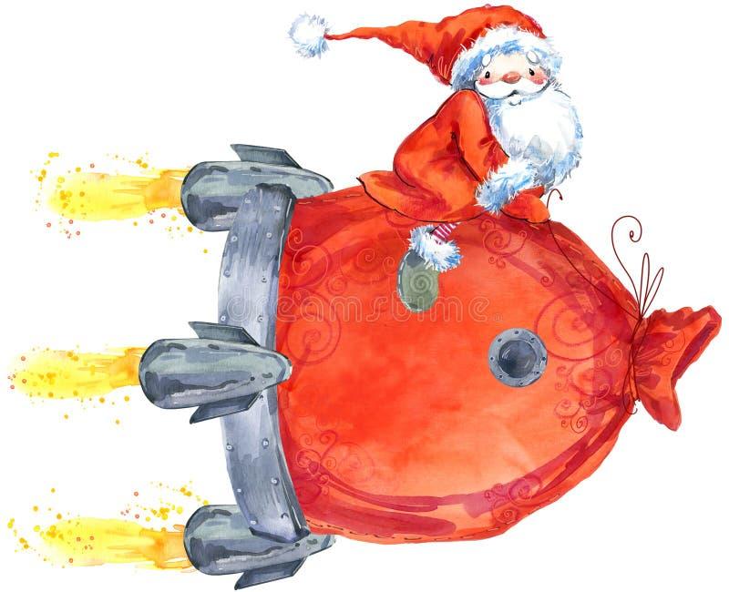 Santa Clause Santa engraçada Cartão do ano novo ilustração royalty free