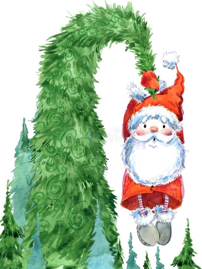 Santa Clause Santa engraçada Cartão do ano novo ilustração do vetor