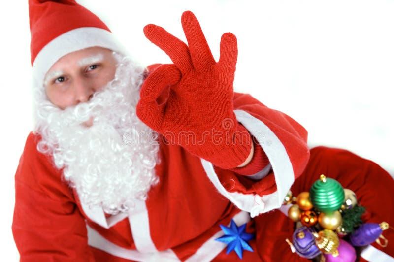 Santa Clause Showing Ok royalty-vrije stock foto's