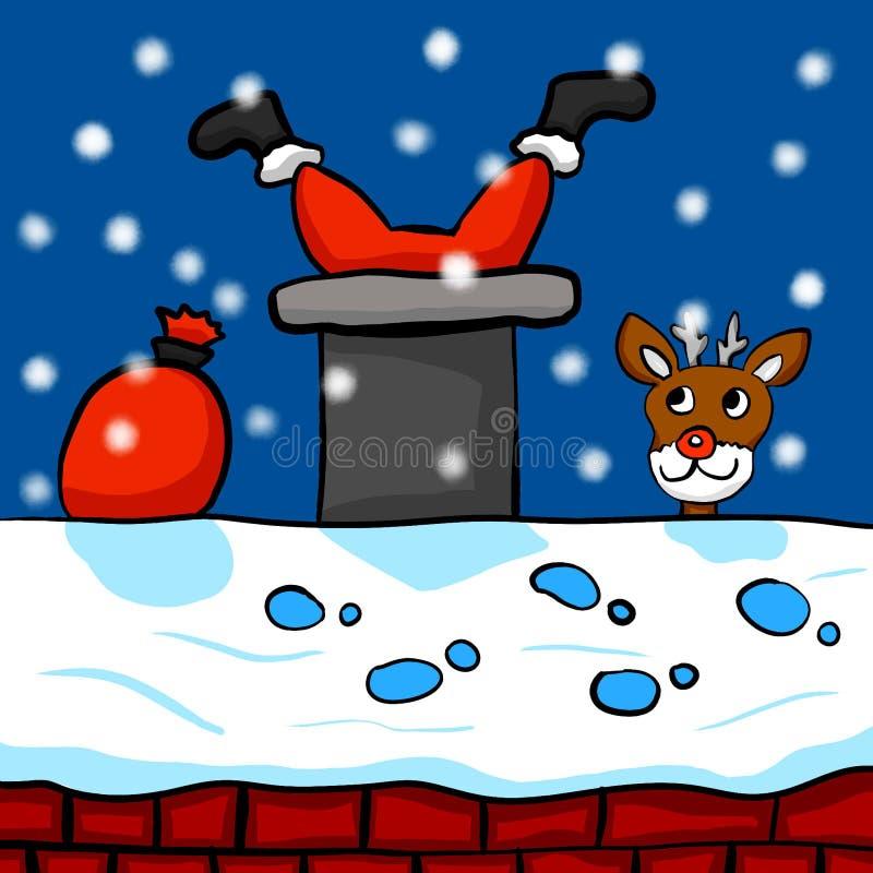 Santa Clause Stuck em uma chaminé ilustração stock