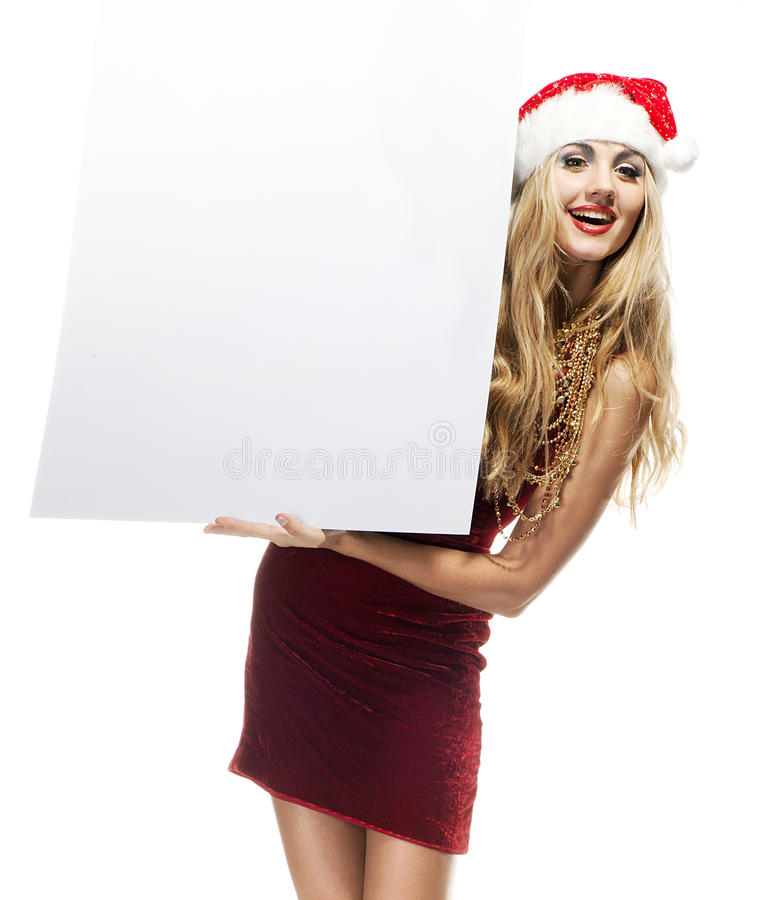 Santa Clause woman with empty blank board royalty free stock image