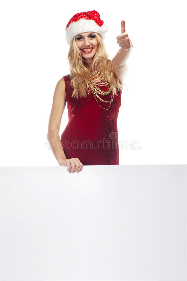 Santa Clause woman with empty blank board stock images