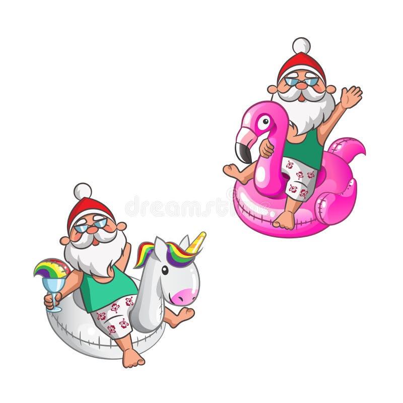 Santa Clauses com unicórnio e o flamingo nadam anéis em férias de verão ilustração royalty free