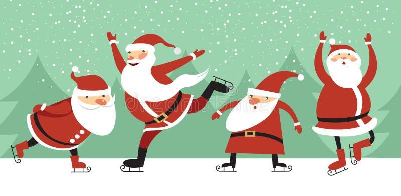 Santa Clauses sur la patinoire illustration de vecteur