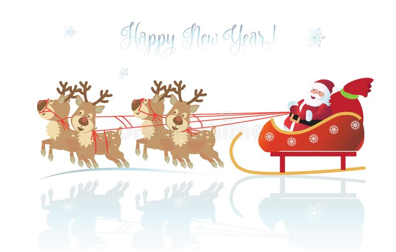 Santa Clous Winter Holiday-Weihnachtsrenkarte stock abbildung