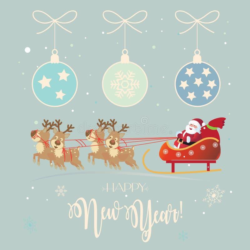Santa Clous Winter Holiday-Weihnachtsrenweinlese vektor abbildung