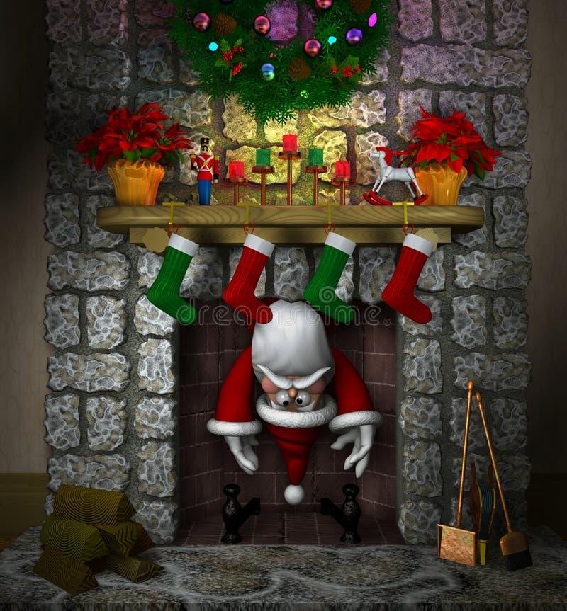 Santa coincée dans la cheminée illustration de vecteur