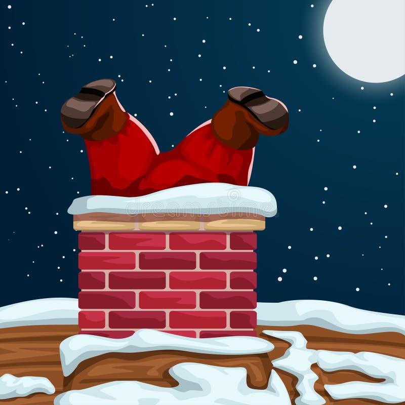 Santa a collé dans la cheminée illustration stock