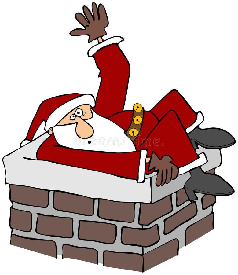 Santa a collé dans une cheminée illustration de vecteur