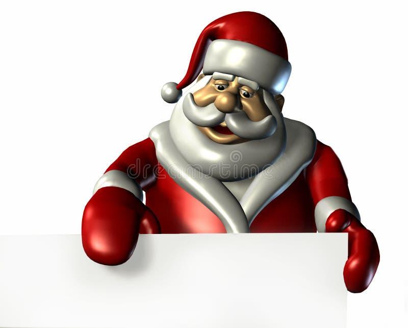 Santa com a borda de um sinal em branco - com trajeto de grampeamento ilustração stock